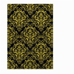 Damask1 Black Marble & Yellow Leather (r) Large Garden Flag (two Sides)