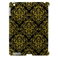 Damask1 Black Marble & Yellow Leather (r) Apple Ipad 3/4 Hardshell Case (compatible With Smart Cover)