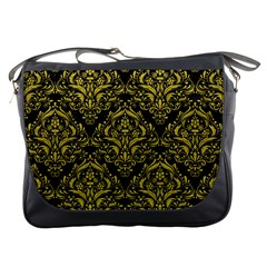 Damask1 Black Marble & Yellow Leather (r) Messenger Bags