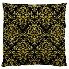 Damask1 Black Marble & Yellow Leather (r) Large Cushion Case (two Sides)