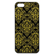 Damask1 Black Marble & Yellow Leather (r) Apple Iphone 5 Seamless Case (black)