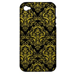 Damask1 Black Marble & Yellow Leather (r) Apple Iphone 4/4s Hardshell Case (pc+silicone)