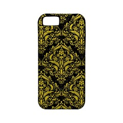 Damask1 Black Marble & Yellow Leather (r) Apple Iphone 5 Classic Hardshell Case (pc+silicone)