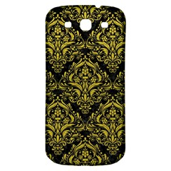 Damask1 Black Marble & Yellow Leather (r) Samsung Galaxy S3 S Iii Classic Hardshell Back Case