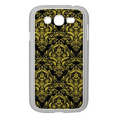 Damask1 Black Marble & Yellow Leather (r) Samsung Galaxy Grand Duos I9082 Case (white)