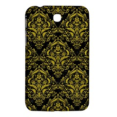 Damask1 Black Marble & Yellow Leather (r) Samsung Galaxy Tab 3 (7 ) P3200 Hardshell Case