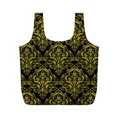 Damask1 Black Marble & Yellow Leather (r) Full Print Recycle Bags (m)