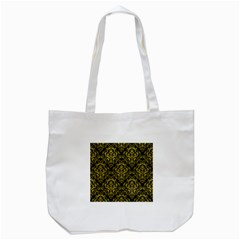 Damask1 Black Marble & Yellow Leather (r) Tote Bag (white)