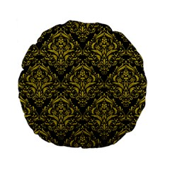 Damask1 Black Marble & Yellow Leather (r) Standard 15  Premium Flano Round Cushions