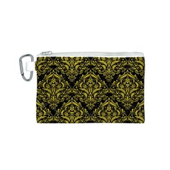 Damask1 Black Marble & Yellow Leather (r) Canvas Cosmetic Bag (s)