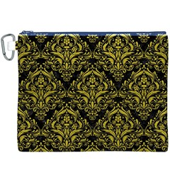 Damask1 Black Marble & Yellow Leather (r) Canvas Cosmetic Bag (xxxl)