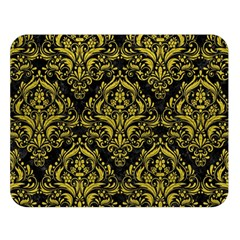 Damask1 Black Marble & Yellow Leather (r) Double Sided Flano Blanket (large)