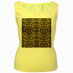 Damask2 Black Marble & Yellow Leather Women s Yellow Tank Top