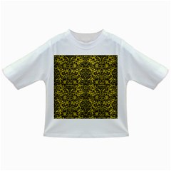 Damask2 Black Marble & Yellow Leather Infant/toddler T Shirts