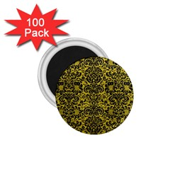 Damask2 Black Marble & Yellow Leather 1 75  Magnets (100 Pack)
