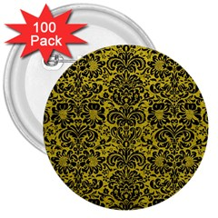 Damask2 Black Marble & Yellow Leather 3  Buttons (100 Pack)