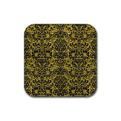 Damask2 Black Marble & Yellow Leather Rubber Square Coaster (4 Pack)