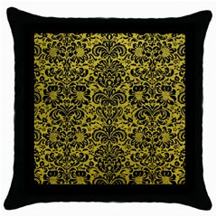 Damask2 Black Marble & Yellow Leather Throw Pillow Case (black)