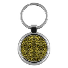 Damask2 Black Marble & Yellow Leather Key Chains (round)