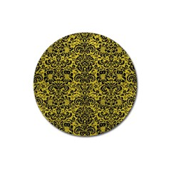 Damask2 Black Marble & Yellow Leather Magnet 3  (round)