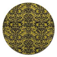 Damask2 Black Marble & Yellow Leather Magnet 5  (round)