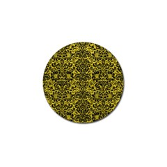 Damask2 Black Marble & Yellow Leather Golf Ball Marker