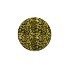 Damask2 Black Marble & Yellow Leather Golf Ball Marker (4 Pack)