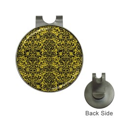 Damask2 Black Marble & Yellow Leather Hat Clips With Golf Markers