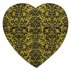 Damask2 Black Marble & Yellow Leather Jigsaw Puzzle (heart)