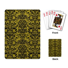 Damask2 Black Marble & Yellow Leather Playing Card