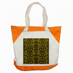 Damask2 Black Marble & Yellow Leather Accent Tote Bag