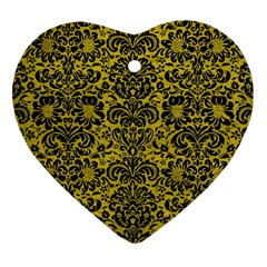 Damask2 Black Marble & Yellow Leather Heart Ornament (two Sides)