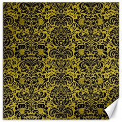 Damask2 Black Marble & Yellow Leather Canvas 20  X 20