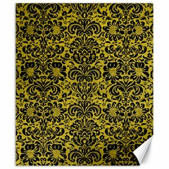 Damask2 Black Marble & Yellow Leather Canvas 20  X 24