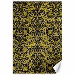 Damask2 Black Marble & Yellow Leather Canvas 20  X 30