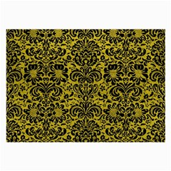Damask2 Black Marble & Yellow Leather Large Glasses Cloth (2 Side)