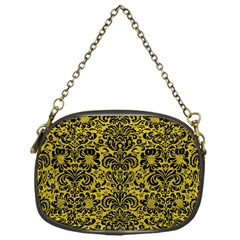 Damask2 Black Marble & Yellow Leather Chain Purses (one Side)