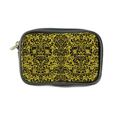 Damask2 Black Marble & Yellow Leather Coin Purse