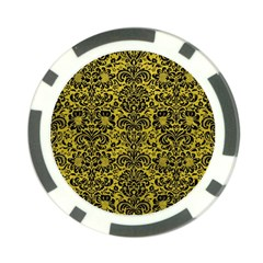 Damask2 Black Marble & Yellow Leather Poker Chip Card Guard (10 Pack)