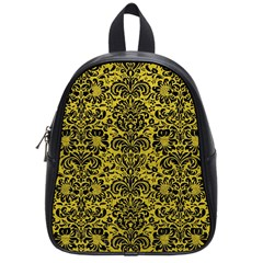 Damask2 Black Marble & Yellow Leather School Bag (small)