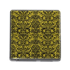 Damask2 Black Marble & Yellow Leather Memory Card Reader (square)