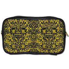 Damask2 Black Marble & Yellow Leather Toiletries Bags