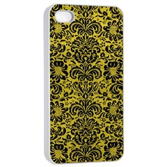Damask2 Black Marble & Yellow Leather Apple Iphone 4/4s Seamless Case (white)
