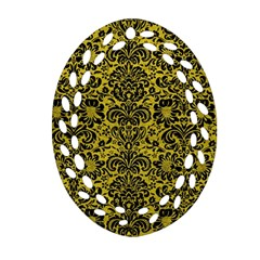 Damask2 Black Marble & Yellow Leather Oval Filigree Ornament (two Sides)