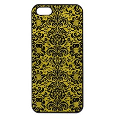 Damask2 Black Marble & Yellow Leather Apple Iphone 5 Seamless Case (black)