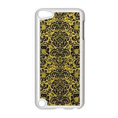 Damask2 Black Marble & Yellow Leather Apple Ipod Touch 5 Case (white)