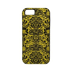 Damask2 Black Marble & Yellow Leather Apple Iphone 5 Classic Hardshell Case (pc+silicone)