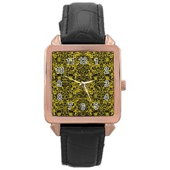 Damask2 Black Marble & Yellow Leather Rose Gold Leather Watch
