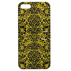 Damask2 Black Marble & Yellow Leather Apple Iphone 5 Hardshell Case With Stand