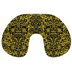 Damask2 Black Marble & Yellow Leather Travel Neck Pillows